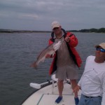 He caught his first redfish on the banks of the ICW behind Isle of Palms