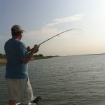 Catching his first redfish in Charleston waters