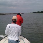 Fighting his first redfish